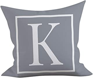 "Iuhan  45x45cm Kids Throw Pillow Case Cushion Cover 18""x 18"" for Baby and Adults, Gray English Alphabet Cushion Cover Throw Pillow Case Sofa Car Square Pillowcase Home Holiday Decoration (K)"