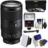 Sony Alpha E-Mount 70-350mm f/4.5-6.3 G OSS Zoom Lens with 3 UV/CPL/ND8 Filters + Flash + Soft Box + 12 Color Gels + Kit