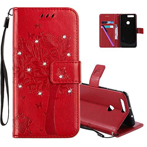 COTDINFOR Huawei Honor 8 Hülle für Mädchen Elegant Retro Premium PU Lederhülle Handy Tasche mit Magnet Standfunktion Schutz Etui für Huawei Honor 8 Red Wishing Tree with Diamond KT.
