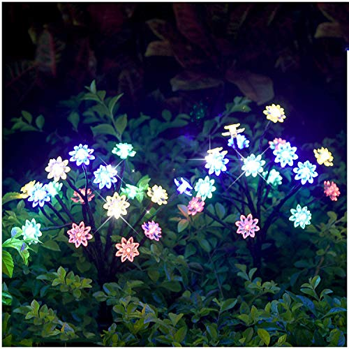 Garden Solar Lights Outdoor Decorative - LED Solar Powered Fairy Landscape Tree Lights Beautiful Solar Flower Lights for Pathway Patio Yard Deck Walkway Christmas Party Decor Yellow-Color 2Pack