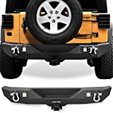 OEDRO Rear Bumper Combo Compatible for 07-18 Jeep Wrangler JK & Unlimited with 2' Hitch Receiver & 2 D-ring & 2x Square LED Lights, Star Guardian Design, Upgraded Textured Black Rock Crawler Off Road