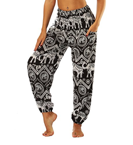JLTPH Damen Haremshose Yogahose Pumphose Elefant Gedruckt Bohemian Yoga Pilates Hippie Kittel Hohe Taille Lange Hosen Casual
