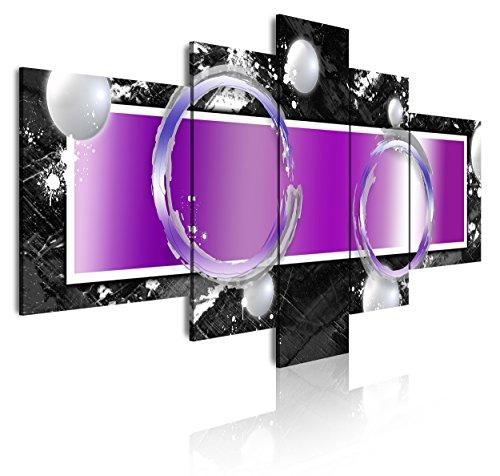 DekoArte 272 - Cuadros Modernos Impresión de Imagen Artística Digitalizada | Lienzo Decorativo Para Tu Salón o Dormitorio | Estilo Abstracto Moderno Colores Plata Negro Morado | 5 Piezas 180x85cm XXL