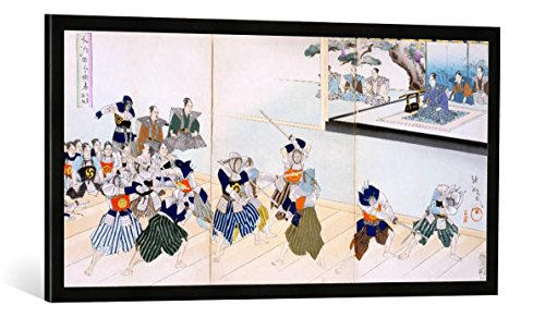 Gerahmtes Bild von Japanese School Warlord Watches Samurai Practising Their Swordplay, Kunstdruck im hochwertigen handgefertigten Bilder-Rahmen, 100x50 cm, Schwarz matt