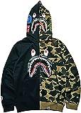 Bape Hoodie Shark Head Cardigan Patchwork Hoodies Camuflaje Zipper Plus Fleece Chaqueta De Algodón Sweatershirt Para Hombres Y Mujeres (Color : Black Green, Size : XL)