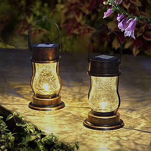 Hapjoy Solar Lanterns Outdoor Hanging Solar Lights 2 Pack Metal Lantern Glass Garden Docer Decorative Table Lamp for Patio Yard Pathway Garden (Bronze)