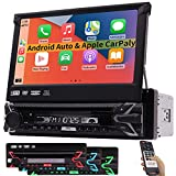 """Single Din Car Stereo Bluetooth Radio Compatible with Apple Carplay&Android Auto DVD Player GPS Navigation System 7"""" HD Touchscreen in Dash Audio Video Receivers WiFi MirrorLink AM/FM/USB HeadUnit"""