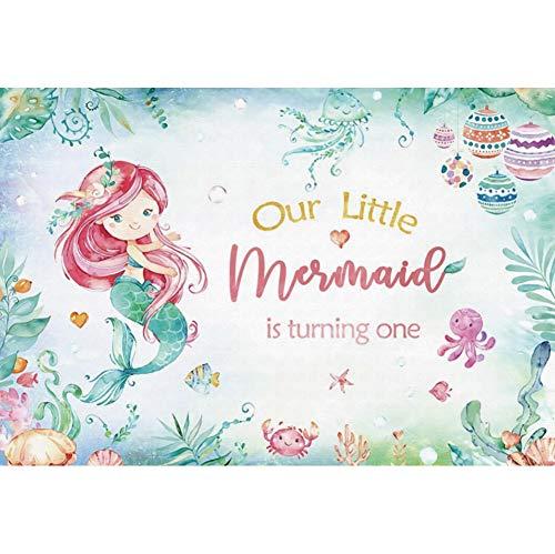 Haoyiyi 10x6.5ft Birthday Background Under The Sea Little Mermaid Backdrop Photography Photo Boys Newborn 1st One First Birthday Party Girl Princess Bday Baby Shower Video Art Portrait