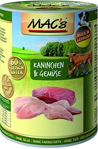 MACs Dog Kaninchen & Gemüse | 6X 400g Hundefutter nass getreidefrei