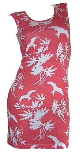 Chillytime Shirtkleid Sommer Kleid Gr 32 XS Koralle rot Vogelmuster