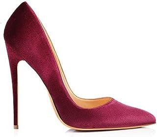 Women's Classic Silp-on High Heel Pumps Point Toe Stiletto High Heel Sandals (Color : Burgundy, Size : 12 UK)