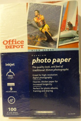 High Gloss Premium Photo Paper - 100 4 x 6 Sheets by Office Depot