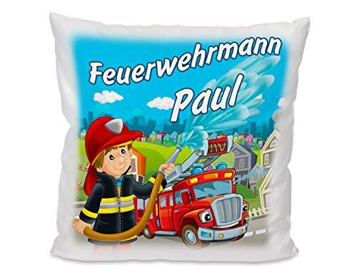 Kissen mit Name Feuerwehr, Kuschelkissen Geschenkidee für Kinder Feuerwehrmann, Geschenkidee Geburtstag, Weihnachten, Ostern für Mädchen und Jungs