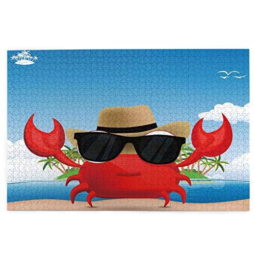 Sierra calar de 1000 piezas,Crustáceo fresco con gafas de sol negras y un sombrero Vacaciones de verano en una,juegos rompecabezas imágenes para adultos y niños Regalo graduación de boda familiar