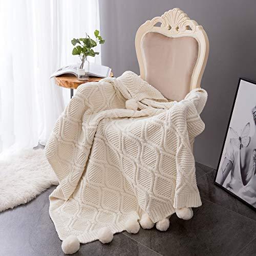 MYLUNE HOME Plaid Couverture Tricot en Chenille avec Les Pompons - Couverture de lit Douce et Chaude Jeté de Canapé (130 x 160cm)-Blanc