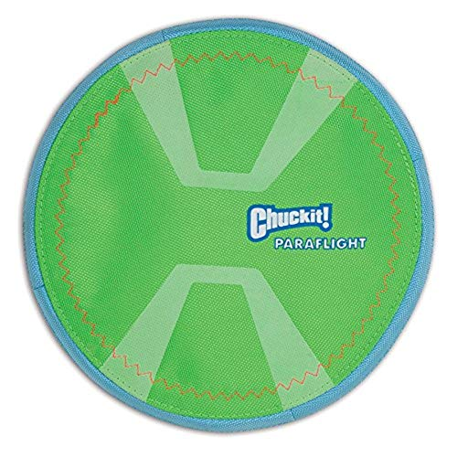 Chuckit! Paraflight Flyer Dog Frisbee for Long Distance Fetch Green/Blue , Large