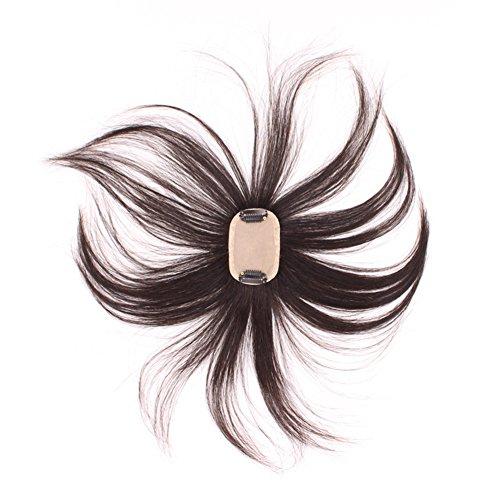 Seta 5,1x 7,6cm base clip su capelli umani Toppers Wiglet Toupee Parrucchino per le donne