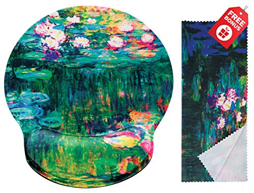 Claude Monet Water Lilies VI Ergonomic Design Mouse Pad with Wrist Rest Hand Support. Round Large Mousing Area. Matching Microfiber Cleaning Cloth for