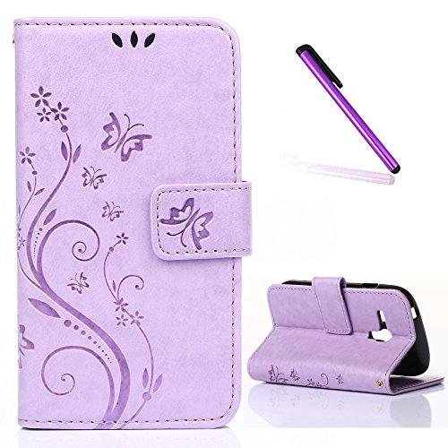 EMAXELERS Funda Samsung Galaxy S3 Mini Funda Premium PU Cuero Cartera para Tarjetas y Cierre Magnetico Soporte Plegable Funda Protectora para Samsung Galaxy S3 Mini,Light Purple Butterfly