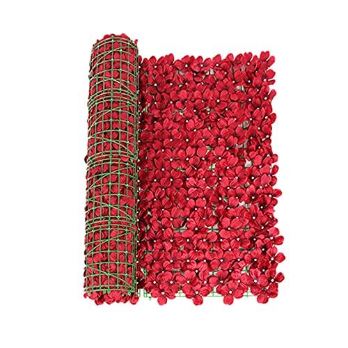 Fuxwlgs Fiori Artificiali Artificiale Ivy Screening Roll Flower Feming Feming Balcone Privato Giardino Giardino Rattan Festan Fence Fiore Artificiale Schermo Privacy Net Privacy (Color : Red 0.5X1 M)