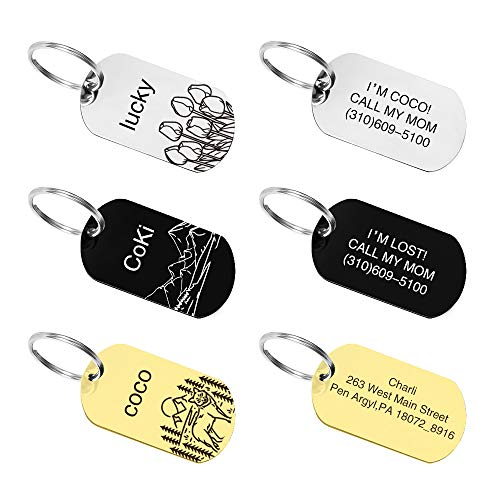 M JJYPET Personalized Id Tags for Cats Dogs,Stainless Steel Pet Id Tag Engraved Deeply,Small Medium Large Sizes (Rectangle)