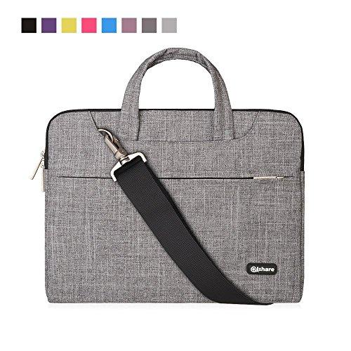 Qishare 15.6 16 Pulgadas Multifuncional portátil Hombro Bolsa maletín portátil de Ordenador portátil Caso Portador de la Ordenador portátil Messenger Caso(15.6 16 Pulgadas,Líneas Grises)