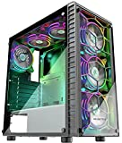 MUSETEX 6pcs 120mm ARGB Fans and USB3.0 ATX Mid-Tower Chassis Gaming PC Case, 2 Tempered Glass Panels Gaming Style Windows Computer Case Desktop Case(G05S6-HB)