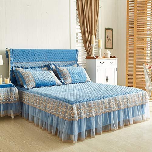 Zcq Katoen Suede Bed Rok Pak Machine Wasbaar Beddengoed Plissé Bed Cover Elastische Band Bevestiging Anti-slip Beschermende Kast-Stof (kleur : C blauw, Maat : 180cmx220cm+beddeksel)