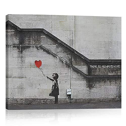 Bold and Brash fille et ballon rouge Impression sur Toile Murale Tableau, «There is Always Hope», thème de Banksy graffiti l'art de rue Décoration Murale pour la Maison Salon Chambre à Coucher Cuisine