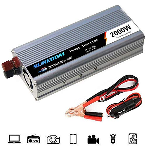 Auto Reiner Sinus Wechselrichter 500W/600W/800W/1000W/1200W/1500W/2000W Spannungswandler DC 12V/24V Auf AC 220V/230V/240V Umwandler - Inverter Konverter mit Steckdose und USB-Port,12v to 220v,2000W