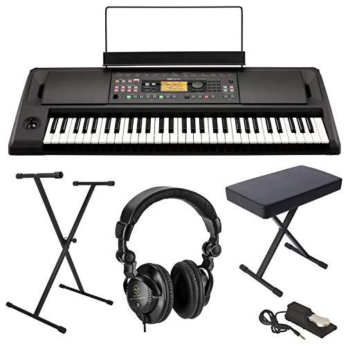 Korg EK-50 61-Key Arranger Entertainer Keyboard (Black), Starter Bundle with Bench, Stand and H&A Studio Headphones