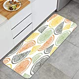 YMWEI Cocina Antideslizante Alfombras de pie Patrón sin Costuras rodajas de Naranja cítricos Vintage Decoración de Piso Confortables para el hogar, Fregadero, lavandería-120cm x 45cm