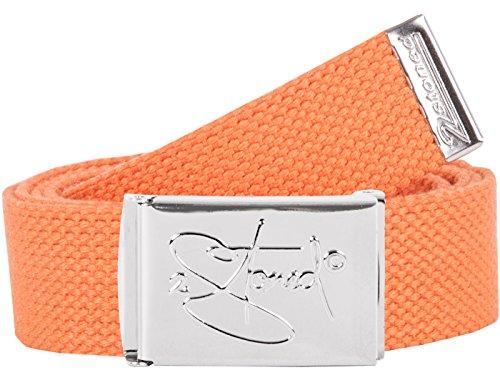 2Stoned Hosengürtel Schmal Orange, Chromschnalle Classic, 3 cm breit, Textil-Gürtel für Damen und Herren