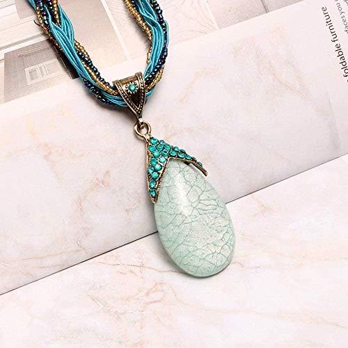 NC188 Collares Pendientes de Piedra para Mujer Collares Pendientes de Cuarzo Azul de lágrima de Piedra Natural Boho Vintage con Cadena de Color Azul Adornos navideños Regalo para Mujeres