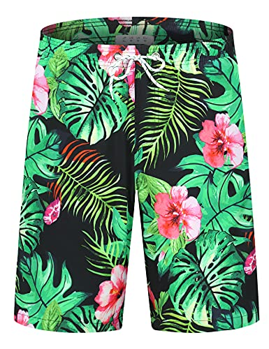 iCKER Costume da bagno da uomo con stampa 3D, pantaloncini da spiaggia Fiore nero XXXL