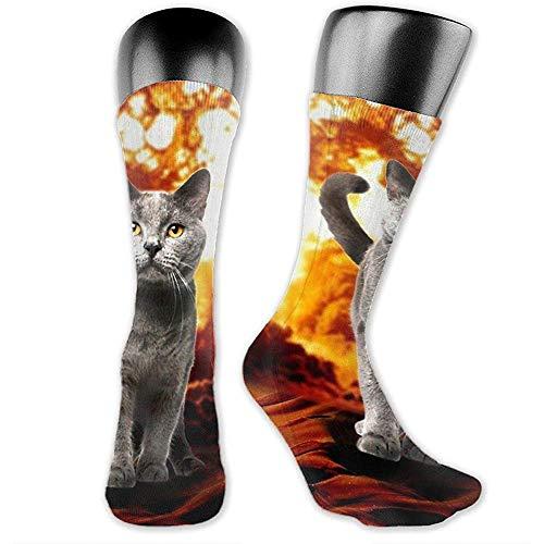 NGMADOIAN Vuur kat Explosion Action film Crazy Space Kitty Over-The-Calf sokken Sportieve sokken voor mannen vrouwen Sport lange sokken kousen 40cm
