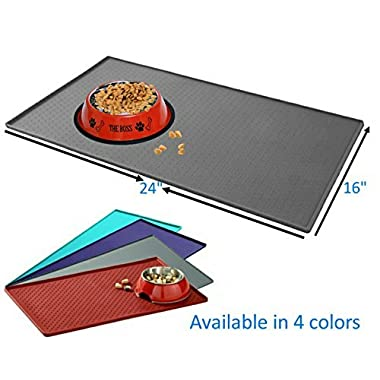 Mr. Peanut's Large Pet Food Mat, Premium FDA Food Grade Silicone, BPA Free, 23.5  X 15.5  Flexible and Easy to Clean Feeding Mat, Protects Your Floors From Food And Water Spills (Gray)