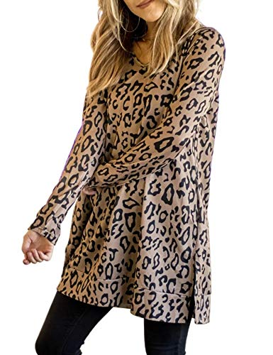 Maysoar-Womens-Tunic-Tops-Leopard-Print-Shirt-Long-Sleeve-V-Neck-Blouse