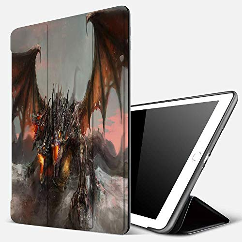 iPad 9.7 inch 2017/2018 Case/iPad Air/Air 2 Cover,Fantasy World Illustration of 3 Headed Fire Breathing Dragon Large Monster Gothic Theme,PU Leather Shockproof Shell Stand Smart Cover with Auto Wake