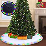 Christmas Tree Skirt with LED Lights - BIGOU 48 inch 2 Modes Snow White Luxury Faux Fur Tree Skirts Base Cover Floor Mat Christmas Lighting Decorations Indoor for Xmas Party Holiday Home Garden
