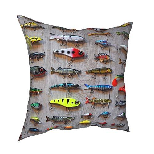 Funda de almohada decorativa cuadrada de 45,7 x 45,7 cm, protector de almohada para sofá, cama, coche, decoración del hogar, el mejor cebo para pesca, informal y fresco