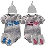 culbutomind Baby Zwillinge Body Boxhandschuhe Titel Baby Outfit Lustige Baby Strampler Baby Mädchen Kleidung Set Gr. 74, Grau