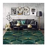 alfombra de área, de Lujo Verde Oscuro Oro geométrica, Salón Dormitorio Estudio de Noche Guardarropa Mat Comedor, Gran Medio Pequeño, 40x60cm (Size : Size Can be Customized)