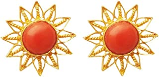 Lagu Bandhu 22k (916) Yellow Gold and Coral Stud Earrings for Women