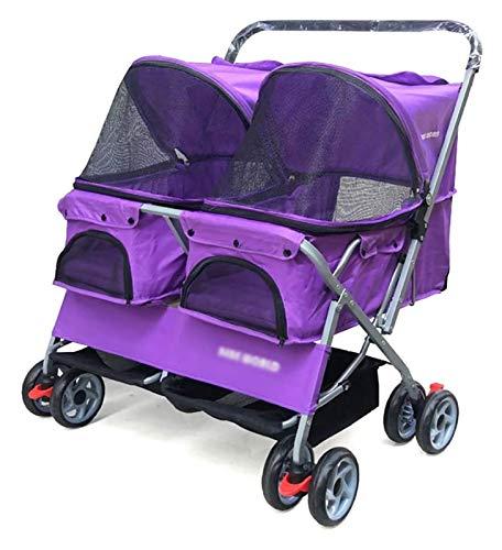 GXK Cochecito doble para perros pequeños y medianos gatos, dos perritos o 2 gatitos, carro plegable para mascotas y perros (color: púrpura)