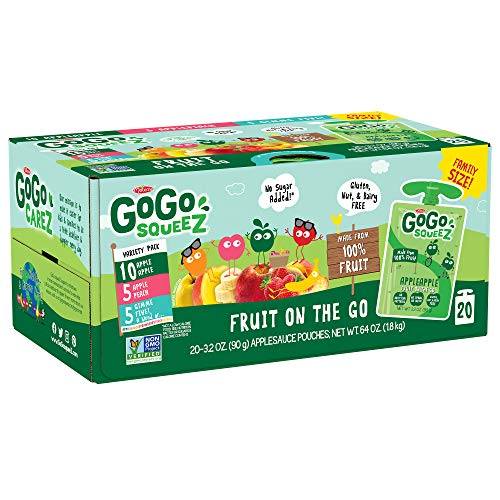 GoGo squeeZ Applesauce on the Go, Variety Pack (Apple Apple/Apple Peach/Apple GIMME 5), 3.2 Ounce (20 Pouches), Gluten Free, Vegan Friendly, Unsweetened, Recloseable, BPA Free Pouches