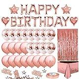 Decorazioni per Feste di Compleanno, Set di Forniture per Feste in Oro Rosa Buon Compleanno Banner Palloncini di Coriandoli Tovaglia Tenda con Frange in Lamina per Ragazza Donna