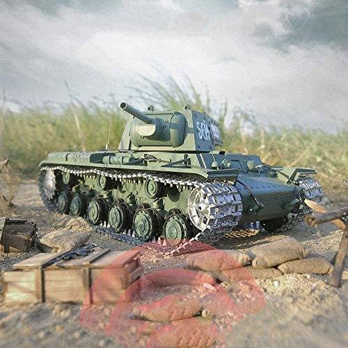 WANGCH Modelo a escala 1/16 Tanque de guerra remoto Tanque de control remoto RC Tanque de pista de metal Sonido Soviético KV1 Blindado Pesado 2.4G Control remoto Hell Buggy Niños adultos Escalada Coch