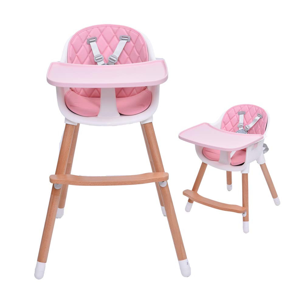 2 in 1 High Chair Baby from 6 Months to 3 Years Old Height Adjustable High Chair Removable Tray with 5-Point Seat Belts Beech Wood Baby Chair Combination High Chair Gray