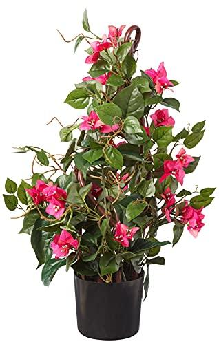 "Nearly Natural 24"" Bougainvillea Artificial Climbing Silk Plants, Green/Pink"